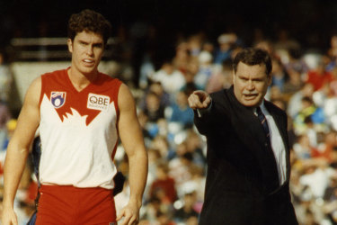 Ron Barassi coaching the Sydney Swans in 1993.
