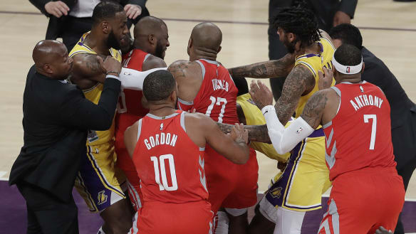 Bans, massive fines for star NBA trio over Lakers-Rockets fight