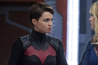 Ruby Rose as Batwoman, with Melissa Benoist as Supergirl.