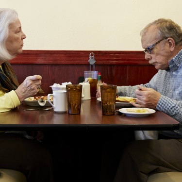 Joey Fautsch and her husband Lou have breakfast at the Sunshine Restaurant in Dubuque.
