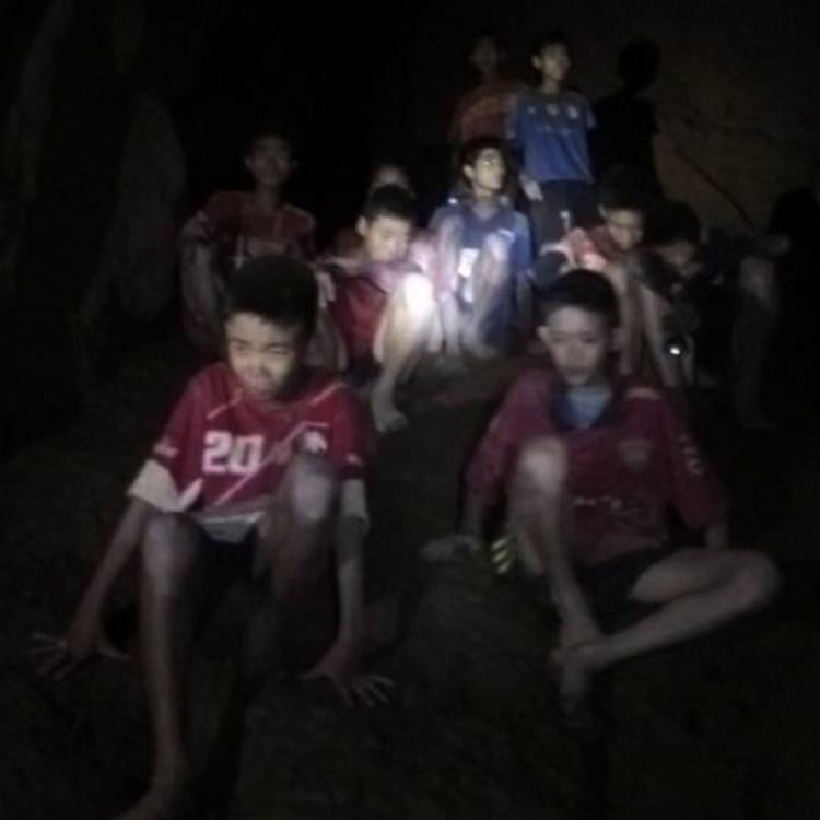 The first sighting of the 12 soccer players trapped in Thailand's Tham Luang cave complex.