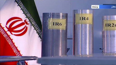 Three mockups of domestically-built centrifuges are shown in a live TV program from Natanz, an Iranian uranium enrichment plant, last year.