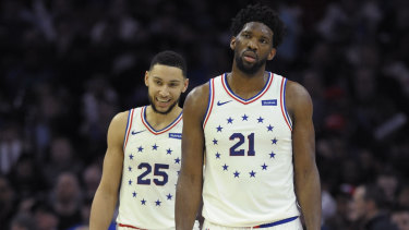 Philadelphia 76ers Joel Embiid (right) and Australian teammate Ben Simmons.