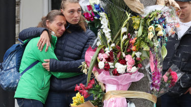 Gitta Scheenhouwer's mother and sister visit the spot where she died.