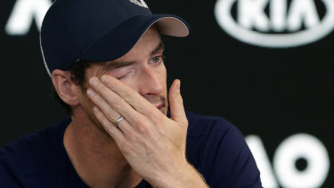 Andy Murray breaks down at his press conference on Friday.