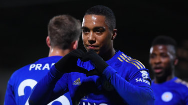 Youri Tielemans of Leicester City celebrates after scoring his team's second goal against Burton Albion.