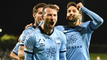 Adam Le Fondre celebrates a goal against Melbourne Victory in last year's semi-final.