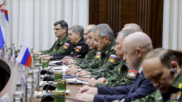 Libyan military officials meeting with their Russian counterparts in November last year.