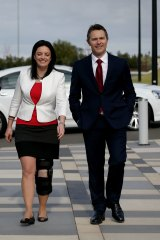 Emma Husar and Jason Clare during a visit to UWS in 2016.
