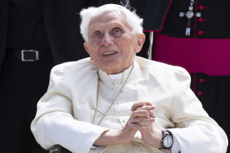 Emeritus pope Benedict XVI on his departure from Germany after visiting his brother in June.
