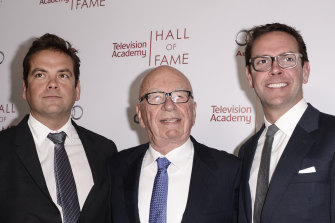 In more united times: Lachlan Murdoch, Rupert Murdoch and James Murdoch in California in 2014.
