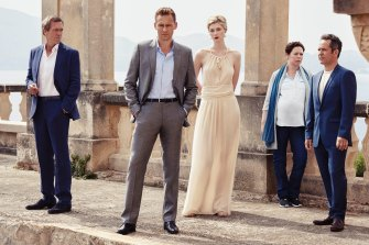 The stellar cast of <i>The Night Manager</i>: (from left) Hugh Laurie, Tom Hiddleston, Elizabeth Debicki, Olivia Colman and Tom Hollander.