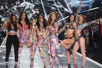 Barbara Palvin, from left, Yasmin Wijnaldum, Winnie Harlow, Gigi Hadid, Kendall Jenner and Alexina Graham walk the runway during the 2018 Victoria's Secret Fashion Show at Pier 94, New York.