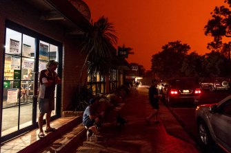 The daytime sky turned blood red in Mallacoota in the first week of 2020, when south-westerly winds sparked fires.