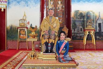 King Maha Vajiralongkorn and Sineenat Wongvajirapakdi in August 2019 before her downfall.
