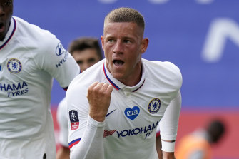 Ross Barkley celebrates scoring for Chelsea against Leicester City in the FA Cup sixth round at the King Power Stadium on Sunday.