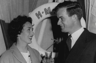 Lieutenant Commander David Leach and wife Pamela at the Voyager party, October 9, 1959.