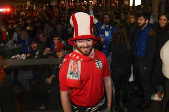 English soccer fan Ben Madden stood out among the crowd.