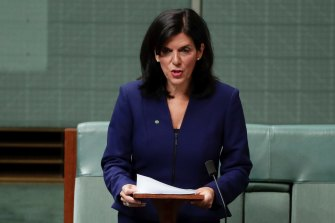 Julia Banks announcing her decision in 2018 to quit the Liberal Party and join the crossbench.