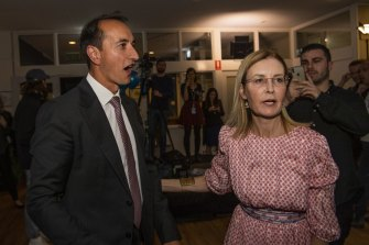 Liberal Party MP Dave Sharma on the night of his victory for the seat of Wentworth in 2019.