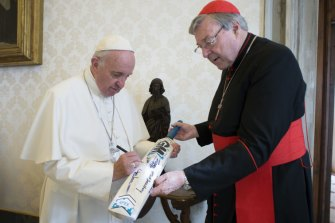 Pope Francis with Cardinal George Pell in 2015.