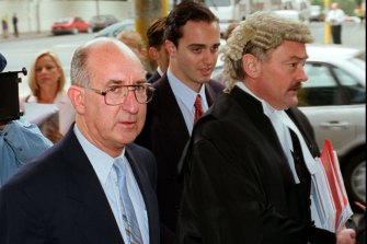Robert Best arriving at court with his lawyer.