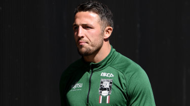 Fronting up: Sam Burgess addressed the Souths sexting scandal for the first time on Tuesday.