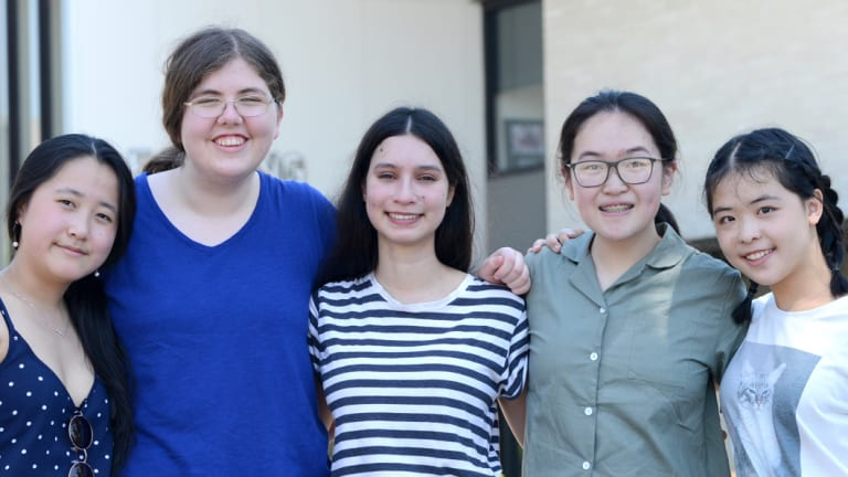 The five PLC students who achieved a perfect score of 45 (from left to right): Dora Du, Amy Leembruggen, Sai Campbell, Jessica Xia and Carrie Fei