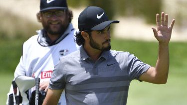 Momentum: Abraham Ancer reacts after chipping in on the fourth hole during his final round at The Lakes.