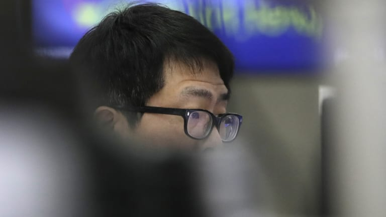 Share sell-off: A trader in Seoul, South Korea.