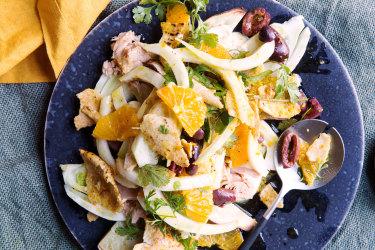 Karen Martini's sweet potato, tuna, fennel, orange and olive salad.