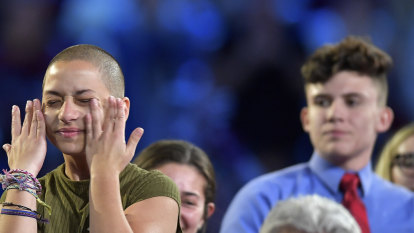 Student activist Emma Gonzalez wipes away tears during a CNN town hall meeting in February.