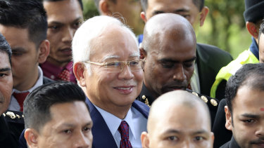 Former Malaysian prime minister Najib Razak arrives at a court house in Kuala Lumpur on Wednesday.