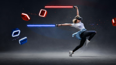 Beat Saber's designed for fun, but it will get your body moving.