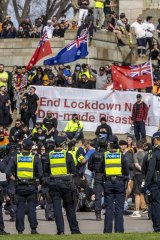 Police respond to protests at Melbourne's Shrine of Remembrance on September 22.