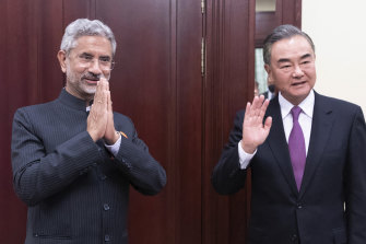 "India's External Affairs Minister Subrahmanyam Jaishankar, left, and Chinese Foreign Minister Wang Yi after talks on the sidelines of the Shanghai Cooperation Organisation meeting in Moscow last week, when they agreed to ""disengage"""