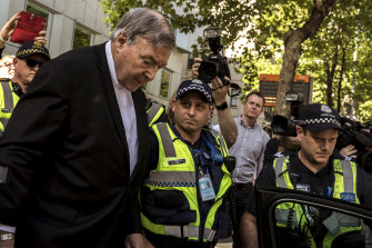 Cardinal Pell leaves the County Court in Melbourne after he was found guilty in December 2018 of sexually assaulting two boys.,