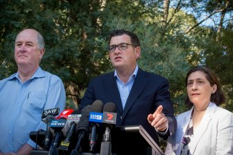 Planning Minister Richard Wynne (left) with Premier Daniel Andrews and Environment Minister Lily D'Ambrosio at the announcement of interim planning measures for the Yarra in 2017.