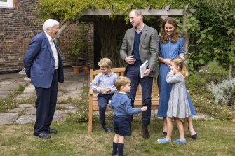 Sir David Attenborough, Prince William, centre, and Kate, the  Duchess of Cambridge with their children.