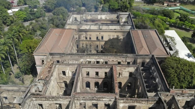 The National Museum stands gutted after the overnight fire in Rio de Janeiro.