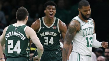 Giannis Antetokounmpo has another monster game for the Bucks against the Celtics.