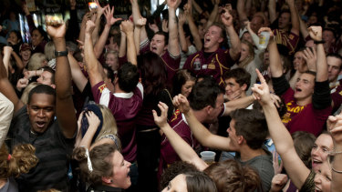 The Caxton Hotel, packed for a State of Origin match.