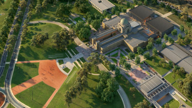 Artist impressions of the planned redevelopment of the Australian War Memorial.