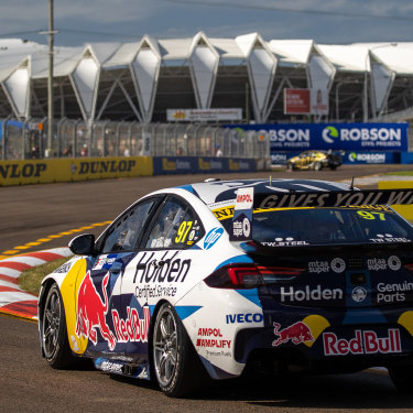 The 2020 Townsville 500, featuring north Queensland's new cauldron in the background.