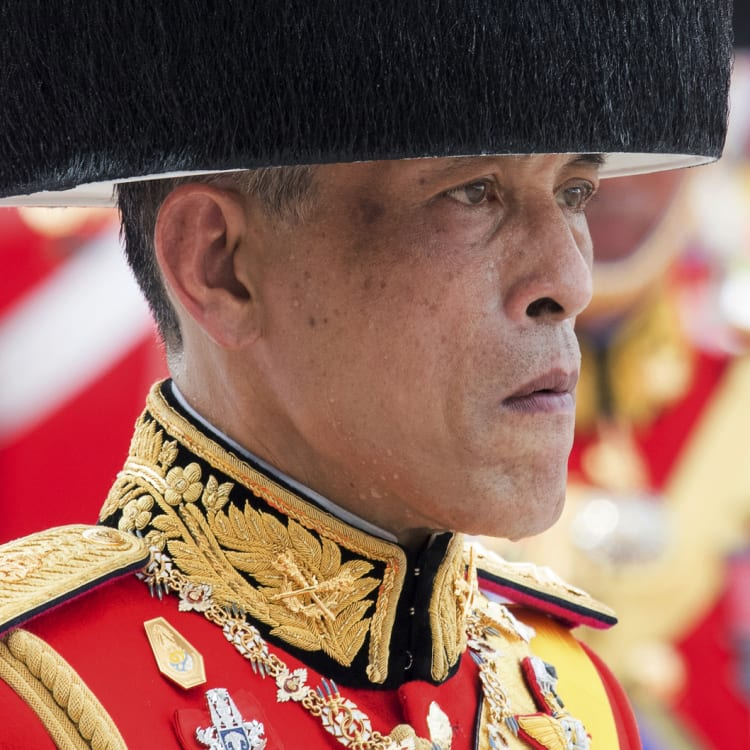 Thai King Maha Vajiralongkorn during the funeral procession for his father, Bhumibol Adulyadej, in 2017.