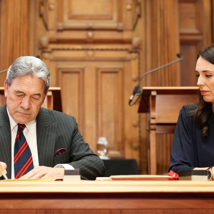 With New Zealand's deputy prime minister, Winston Peters.