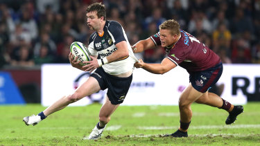 Mackenzie Hansen of the Brumbies makes a run during the Super Rugby Final at Suncorp Stadium.