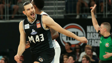 Pumped: Chris Goulding celebrates a three-pointer against the Bullets at Hisense Arena on Sunday.