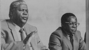 Leaders of the Patriotic Front Joshua Nkomo and Robert Mugabe hold a press conference in 1979 in London on British plans to create an independent Zimbabwe/Rhodesia.