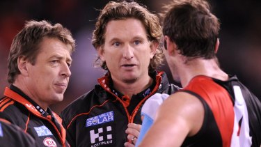 Mark Thompson and James Hird in their coaching days at Essendon.